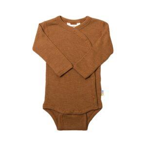 Præmatur body med skråluk. Uld silke body til for tidligt født. Kobber.