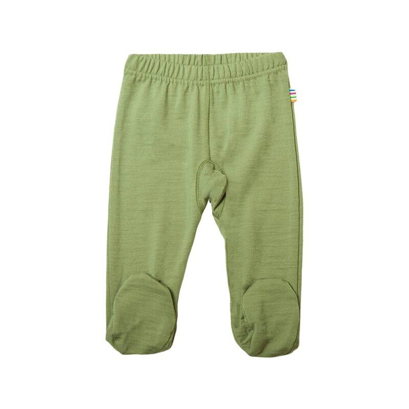 Præmatur leggings i merinould. Grøn og med fod. Joha.