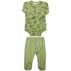 Præmatur body og leggings i merinould. Grøn med print af bjørne. Joha.
