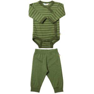 Præmatur body og leggings i uld. Sæt fra Joha i grøn.