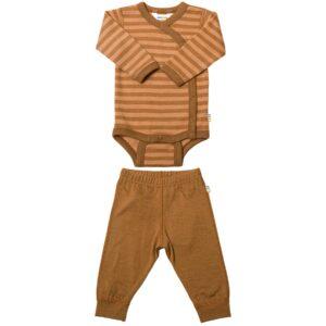 Præmatur body og leggings i uld. Sæt fra Joha i kanel-farve.