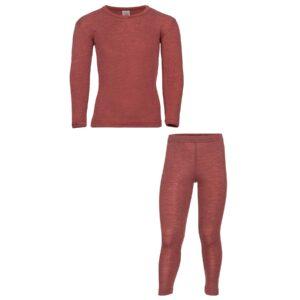 Nattøj sæt i uld silke fra Engel. Bæredygtig kvalitet i kobber-rød