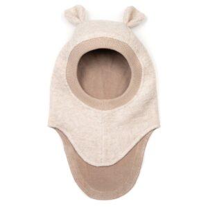 Huttelihut elefanthue med små ører. Sand-farvet uldfleece.