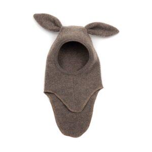 Huttelihut elefanthue i uldfleece med lange ører. Brun uld
